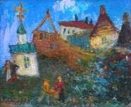 Облако, художник, монастырь. Евгений Камбалин. 2006. Холст, масло. 40Х50 см