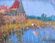 Дождь в монастыре. Евгений Камбалин. 2006. Холст, масло. 39Х48,5 см